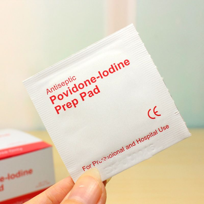 100 Pcs/Box Povidone Iodine Disinfection Sheet Tissue Pads Sterilization First Aid Kit Emergency Medical Disposable Hygiene Anti
