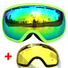 COPOZZ Ski Goggles double lens anti-fog large skiing goggles men women snowboard glasses with Cloudy Night Lens