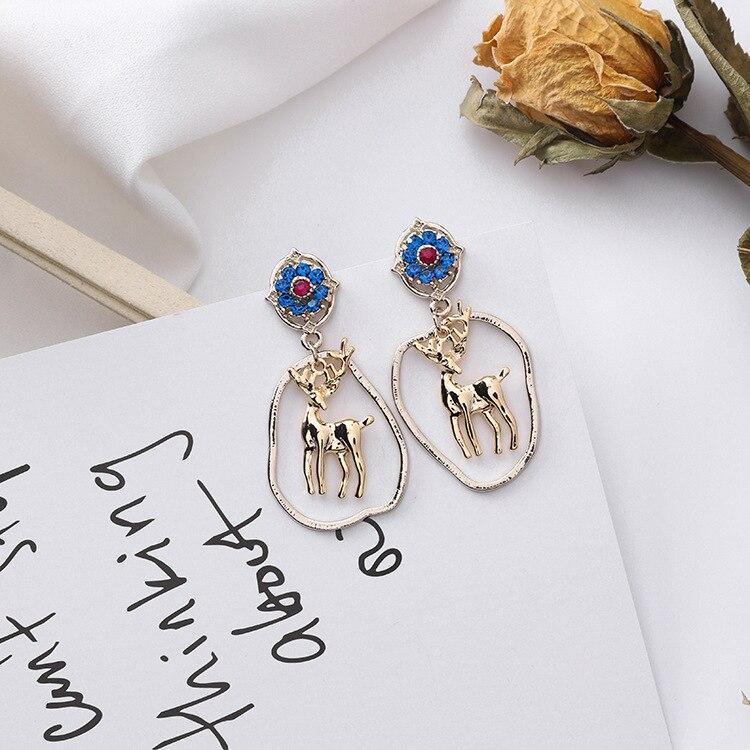 Western Vintage Abstract Circle Lovely Deer Drop Earrings For Women Blue Rhinestone Flower Retro Statement Dangle Earings