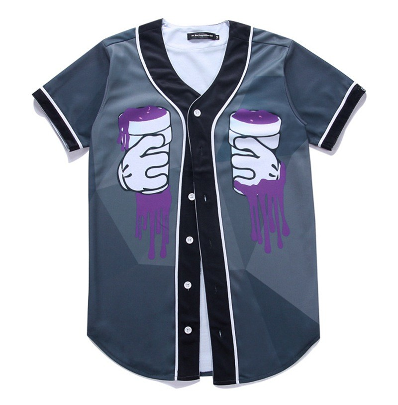 Newest Men`s Shirts Retro Mens Hipster Hip Hop Button-Down Baseball Jersey Casual V-neck Short Sleeve Fancy Shirts Men M-XXXL (1)