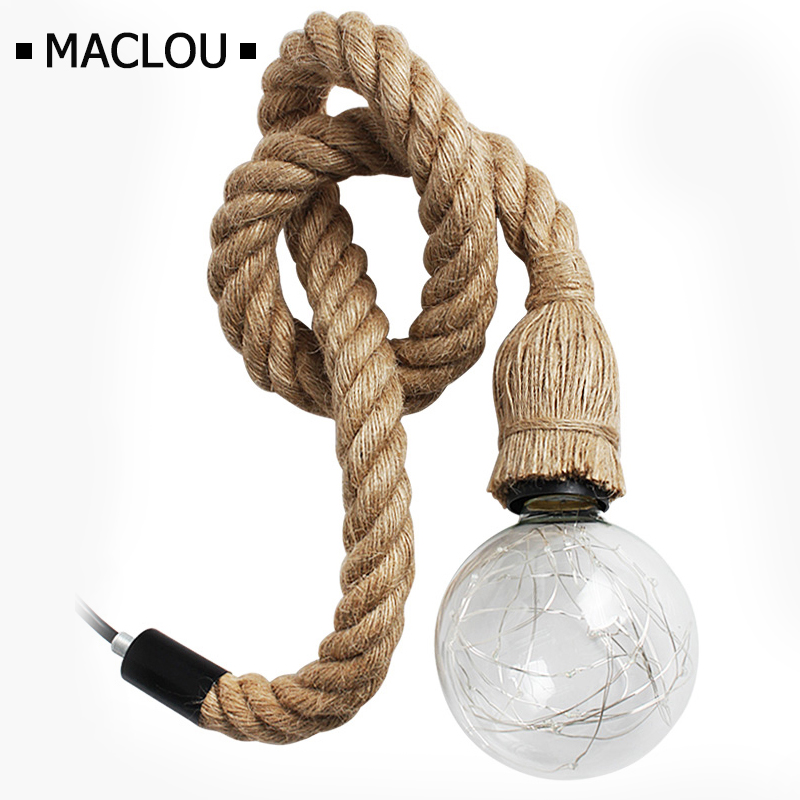 8 heads style loft industrial pendant light fixture dinning room hemp rope lamp vintage lights led edison style Vintage Hemp Rope Pendant Lights Loft Industrial Style Classical Indoor Lighting Lamp DIY For Edison bulb E27 Rope Light Base