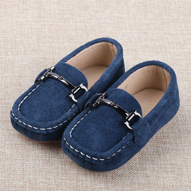 739d62527fa 2016 Autumn Genuine Leather Boys Shoes Children Loafers Suede Shoes Brown  Red Blue Kids Casual Flats