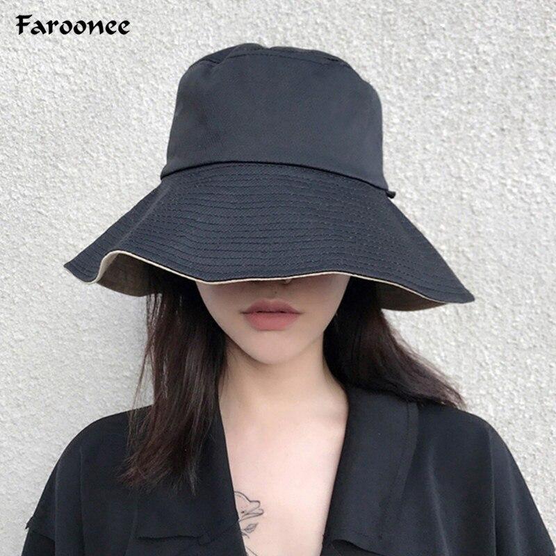 Summer Girl Solid Color Reversible Bucket Hats Shading Flat Caps Outdoor Fishing Hunting Fisherman Sunscreen Folding Cap 6C2502
