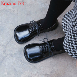 Image 1 - 2021 Fashion Brand Shoes Genuine Leather Thick Heel Spring Strange Style Women Pumps Round Toe Lace Up British School Shoes L73