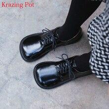 2021 אופנה מותג נעלי אמיתי עור עבה העקב אביב מוזר סגנון נשים משאבות הבוהן עגולה תחרה עד בריטי נעלי בית ספר l73