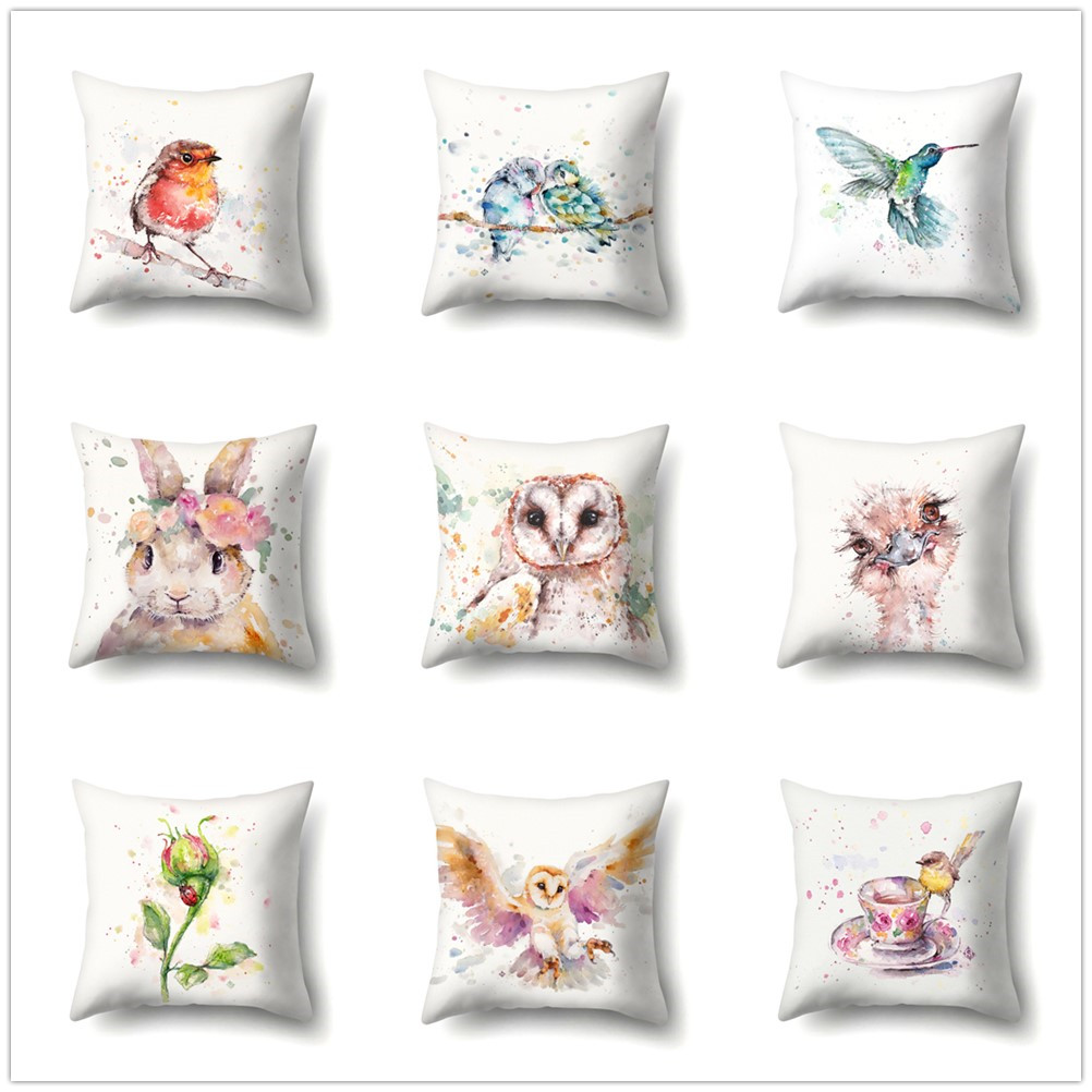 Watercolor Animal Cushion Cover Soft Sofa Office Pillow Covers Peach Skin Bird Pattern Colorful Decorative Pillowcase Home Decor in Cushion Cover from Home Garden