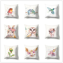 Watercolor Animal Cushion Cover Soft Sofa Office Pillow Covers Peach Skin Bird Pattern Colorful Decorative Pillowcase Home Decor stylish animal watercolor alpaca pattern square shape flax pillowcase without pillow inner