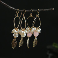 Pure Silver Needle Natural Freshwater Pearl 2018 Fashion New Type Gold Leaf fringed Geometric Figure Earrings Earrings