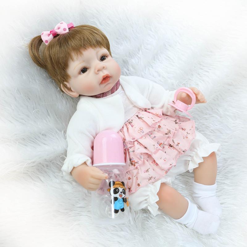 ФОТО Free Shipping! New 45CM Soft Silicone Reborn Baby Dolls Handmade Vinyl Reborn Doll Girls Xmas Gifts Bonecas Brinquedos