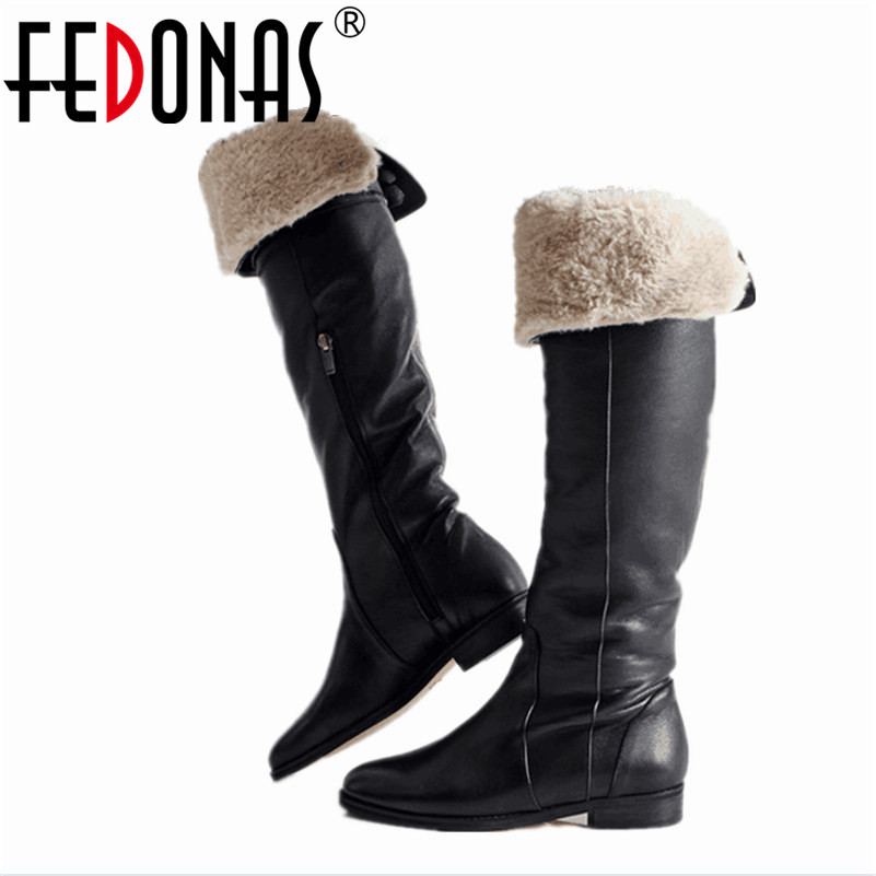 FEDONAS Fashion Women Knee High Boots Classic Designer Brand Long Plush Winter Warm Snow Shoes Woman Thigh High Motorcycle Boots