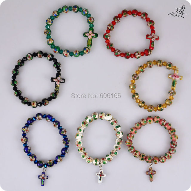 48pc/lot Cloisonne Rosary Beads Bracelets Sideways Cross Pendant Crystal Rhinestone Copper Enamel Handmade Religious Bracelet
