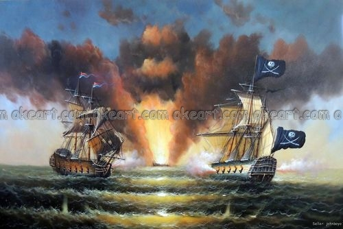 100% hand painted Pirate Ship Cannon Attack Sea Battle