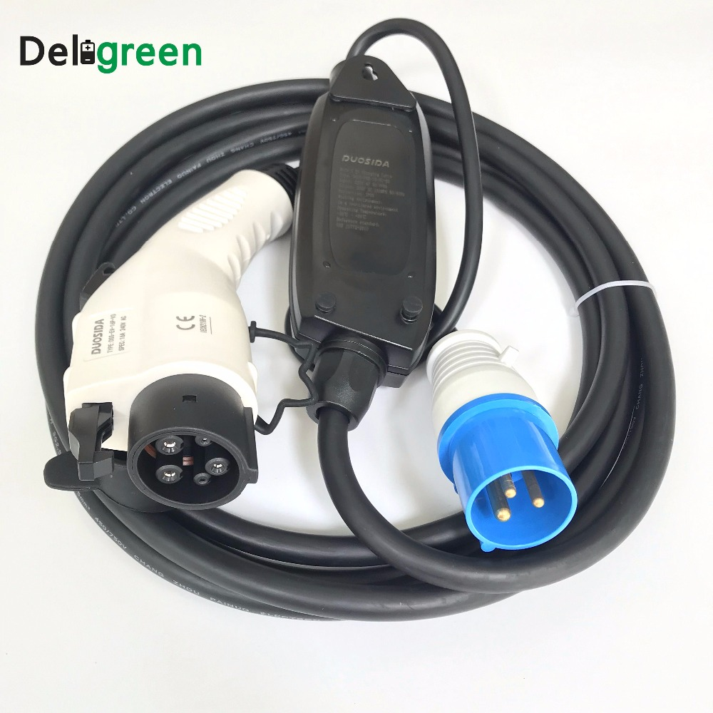 Duosida EVSE Car charger 16A J1772 Level 1 Electric Vehicle Car Charger for Nissan leaf/yotaka tax free to eu evse car charger 16a j1772 duosida level 1 electric vehicle charging 16a blue cee with 5m cable with dummy socket