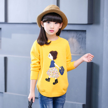 2017 Autumn Winter girls sweaters children clothing kids clothes cute applique o-neck sweaters pullovers girls clothes age 3-15Y