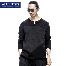 Anthesis linen t-shirt male V-neck long-sleeve t shirt 2017 spring eastern style patchwork