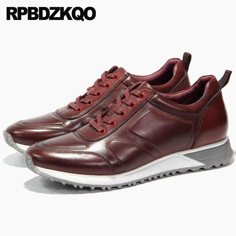 71b0700467ace3 ... genuine leather solid casual european trainers sneakers luxury men  shoes italy brand comfort burgundy high quality ...