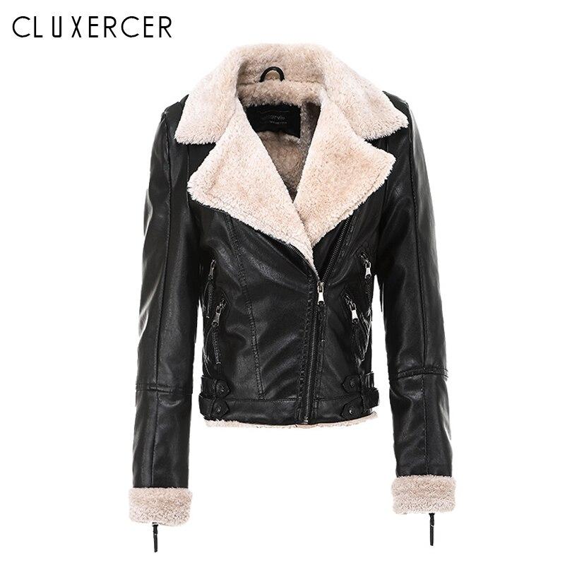 Fashion Women 2018 Korean Style Black Thicken Faux Leather Jacket Autumn Winter Warm Lady Moto Jacket