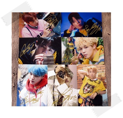signed BTS autographed group photo LOVE YOURSELF  4*6 inches 7 photos set  freeshipping 102017
