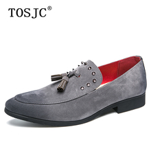 TOSJC Brand Mens Suede Leather Loafers Shoes Luxury Popular Rivet Moccasins Casual Footwear Dresses Comfortable Tassel Shoes tosjc 2