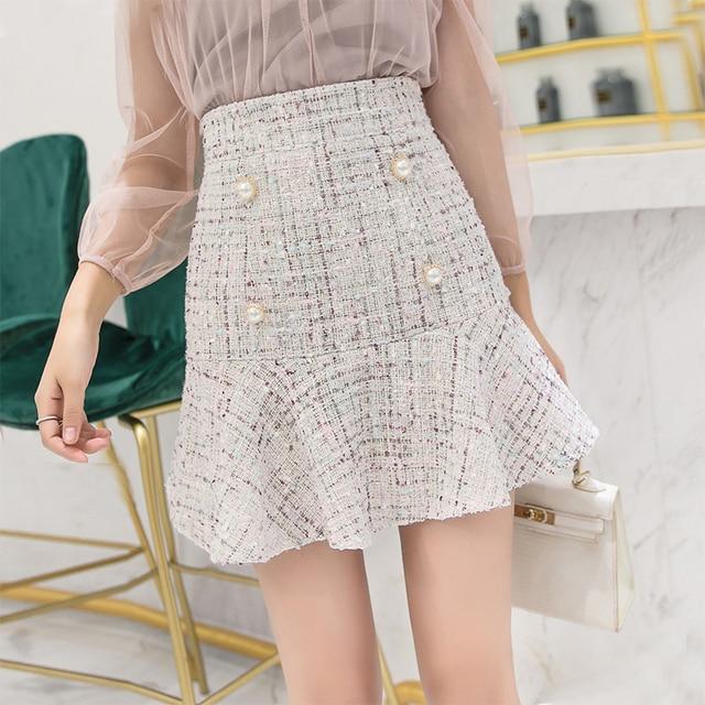 a81bec2434 Korean Fashion Classic Tweed Skirt Women Elegant Office Lady Buttons Ruffle  Mini Skirt High Waisted Skirts Womens Jupe Femme
