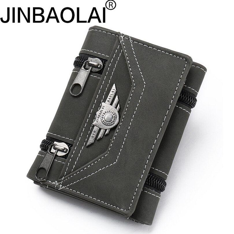 JINBAOLAI youth Short wallet Men high quality Multifunction purse 3 Fold Buckle male bag credit card holder D3163-6