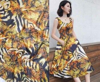 Pure Natural Mulberry Silk Chiffon Digital serpentine Prints silk Fabric Material Textile Sew Women Dress Scarf 8M/M Wide tissus