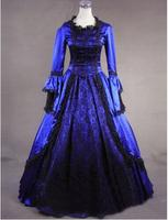 2016 Hot Sale Blue Black Long Sleeve Lace Ruffles 18th Century Rococo Georgian Gothic Victorian Lolita