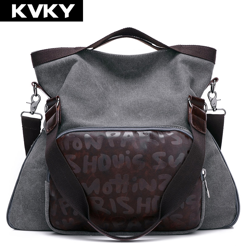 KVKY Vintage Canvas Women Handbag Large Capacity Hobos Casual Women Messenger Bags Women's Crossbody Shoulder bags Totes Bolsas high quality travel canvas women handbag casual large capacity hobos bag hot sell female totes bolsas ruched solid shoulder bag