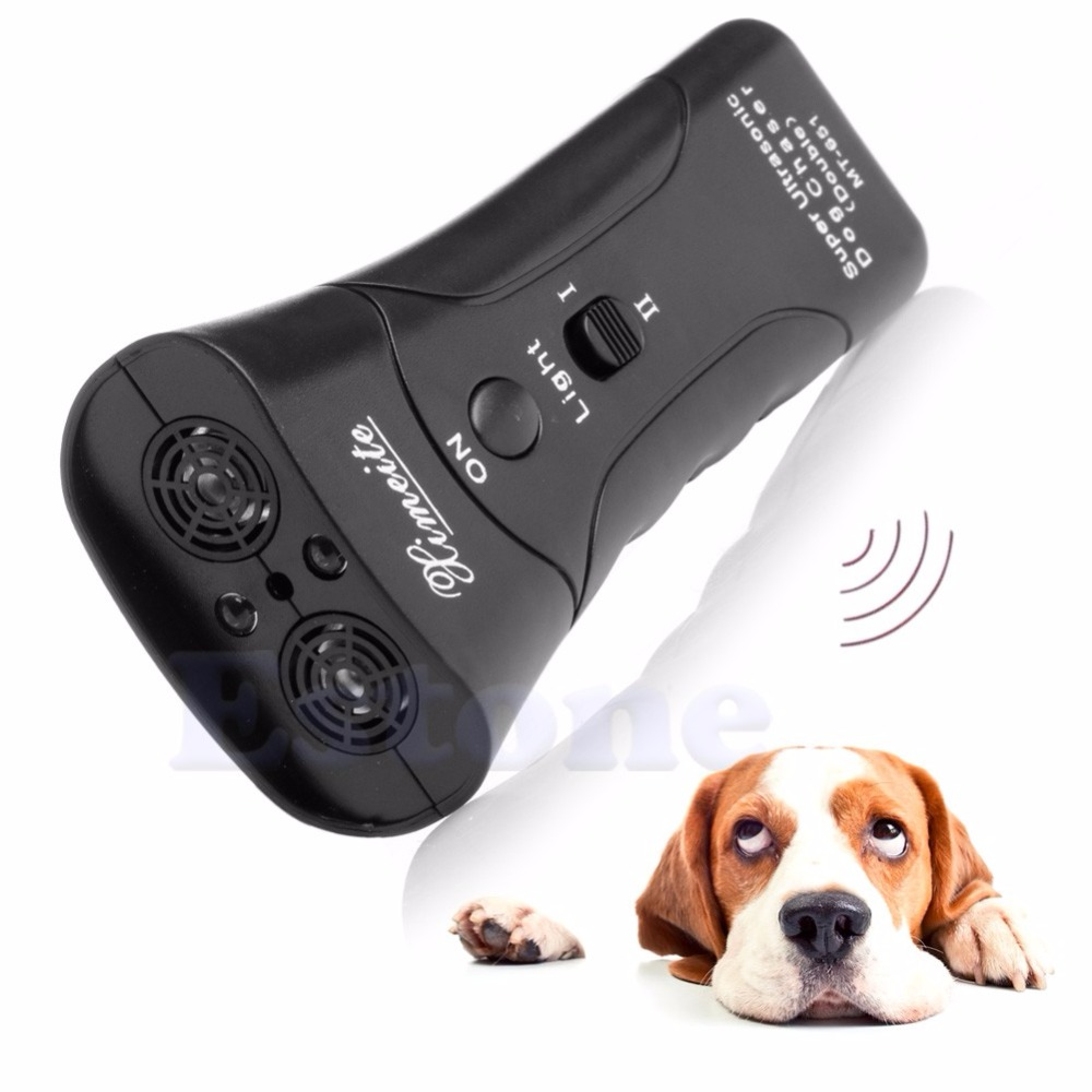 New Ultrasonic Dog Chaser Stop Aggressive Animal Attacks Repeller Flashlight-P101 ...