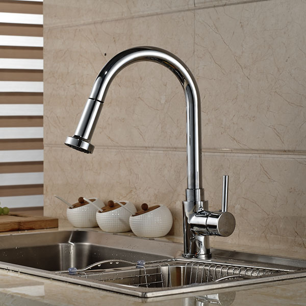 Contemporary Chrome Brass Kitchen Sink Faucet Deck Mount Pull Out Dual Sprayer Nozzle Hot Cold Mixer Water Taps hpb copper deck mount pull out kitchen faucet sink mixer tap cold hot water taps swivel spout chrome brushed robinet de cuisine