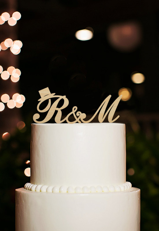 Wooden Initial Cake Topper