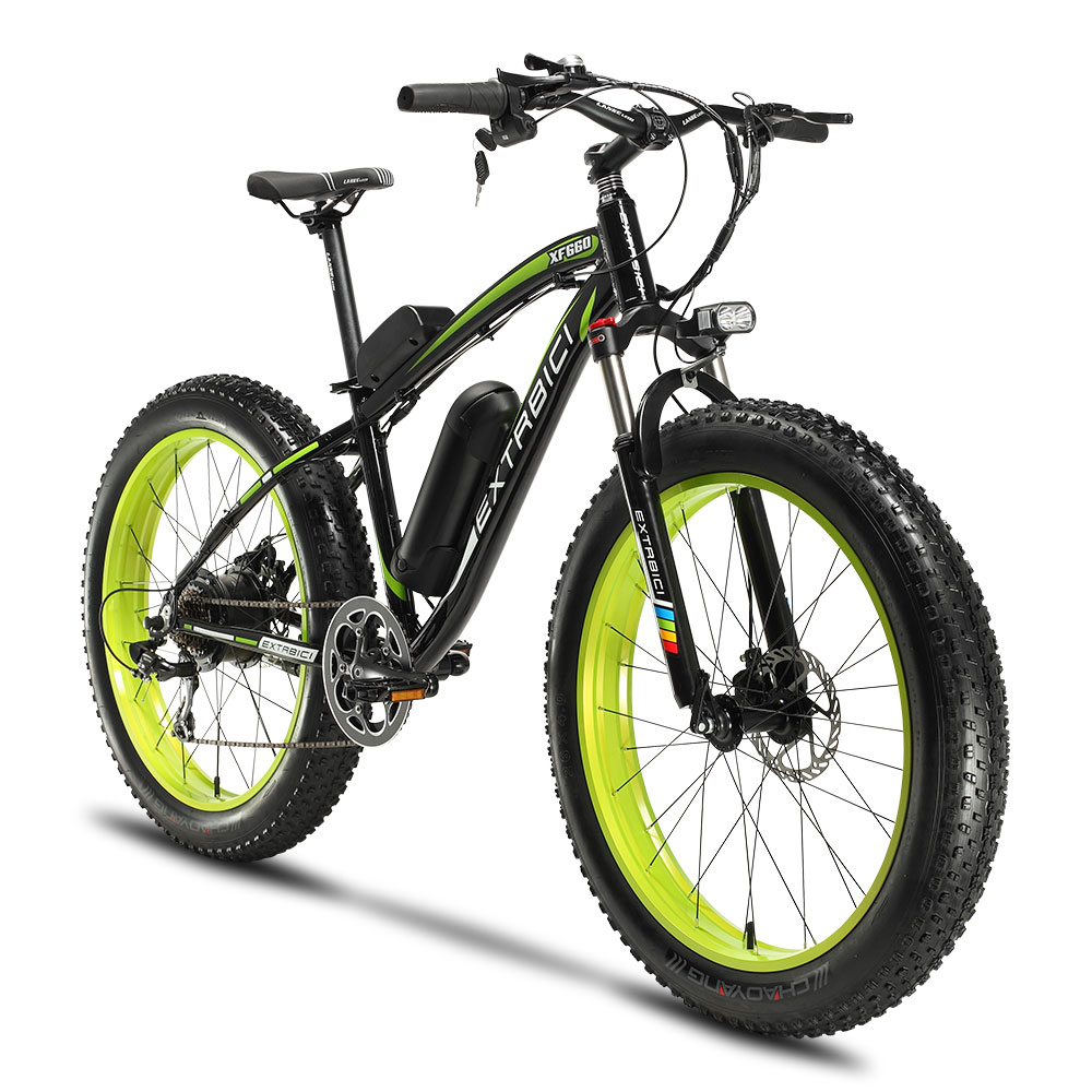 Cyrusher XF660 48V 500W Electric Snow Bike Mountain Electric Bicycle 7S 4.0 Fat Tire ebike with Adjustable Handlebar Disc Brakes