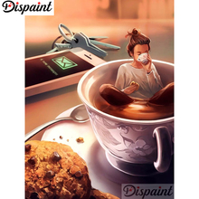 Dispaint Full Square/Round Drill 5D DIY Diamond Painting Teacup cookie man 3D Embroidery Cross Stitch Home Decor Gift A12439