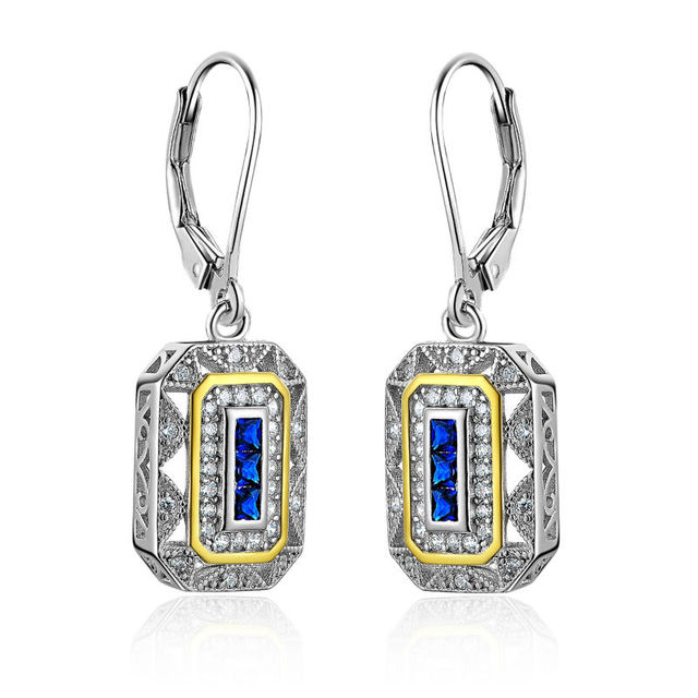 Blue Zirconia Solid 925 Sterling Silver Dangle Drop Earrings For Women Newshe Jewelry Free shipping