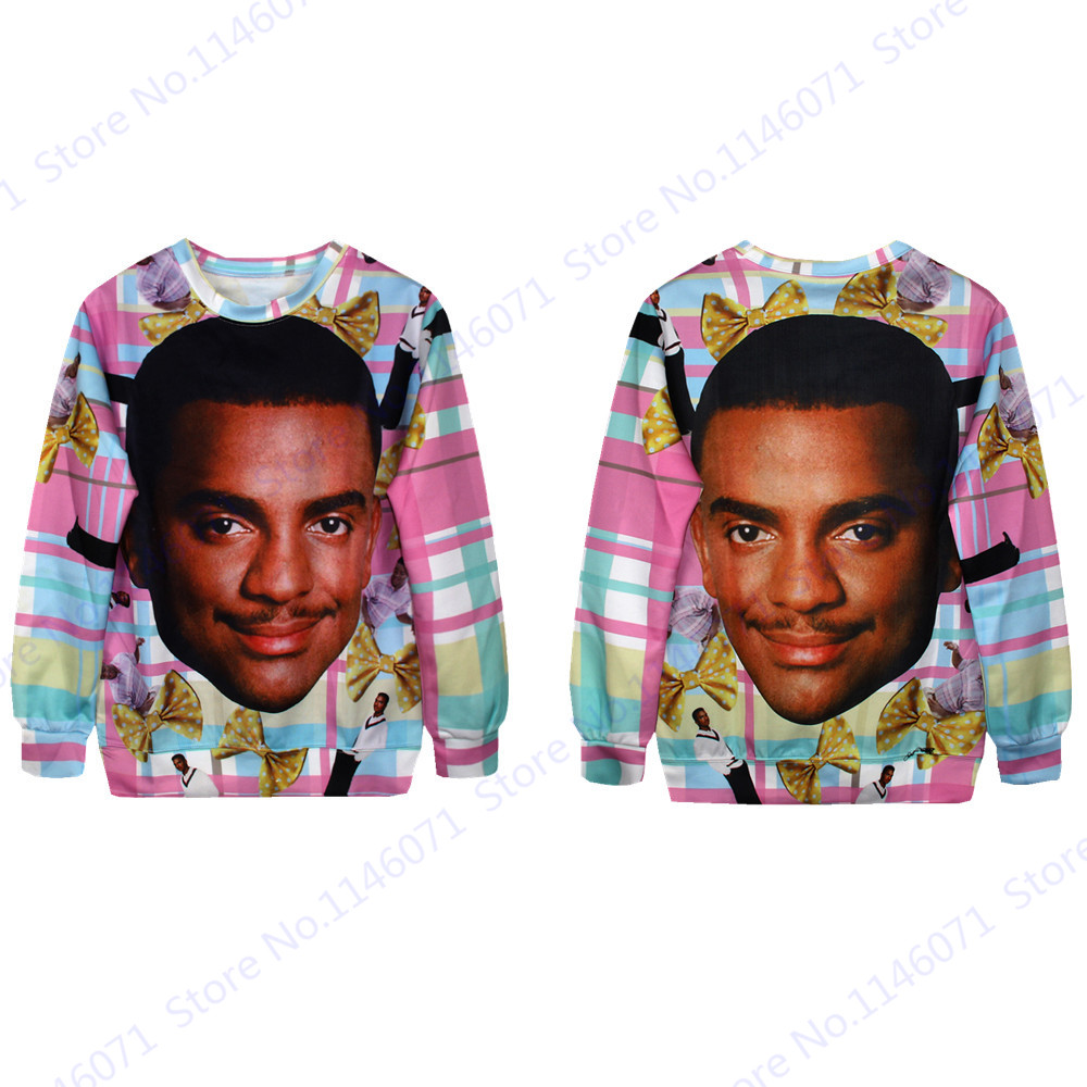 Alfonso Ribeiro Hoodie The Fresh Prince of Bel Air Exercise Sweater Autumn Pink font b Tartan