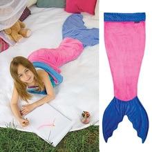 Shark Mermaid Tail Blanket Children Kids Sleeping Sack Sofa Bed Throw For Girls adult blanket
