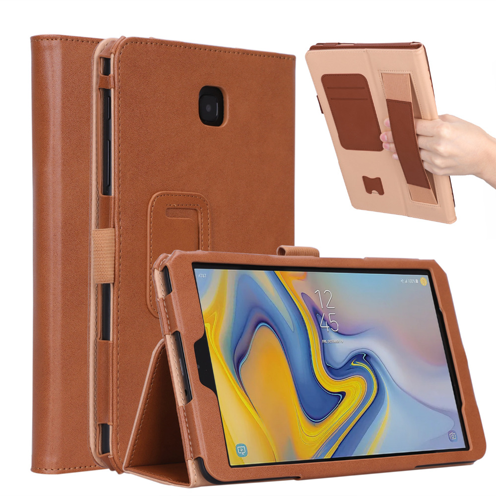 Cowhide Magnet Stand PU Leather Cover Hand Strap Funda Case For Samsung Galaxy Tab A 8.0 2018 T387 SM-T387V SM-T387P +Film +Pen