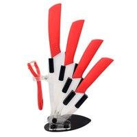 Brand 2016 New Arrival 3 4 5 6 + Peeler + Knife Holder Ceramic Knife Set white Blade High Quality Kitchen Knives Set
