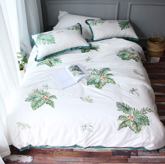 European Egyptian Cotton Bed Linen Set Green Leaf Embroidery Satin Bedding  Sets/bedclothes Queen King
