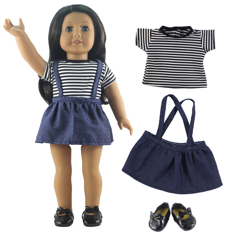 3in1 Set Doll Clothes Top Striped Shirt+Jean Skirt+One Pairs Shoes for 18 American Girl Doll and Other 18 Girl Dolls Clothes ...