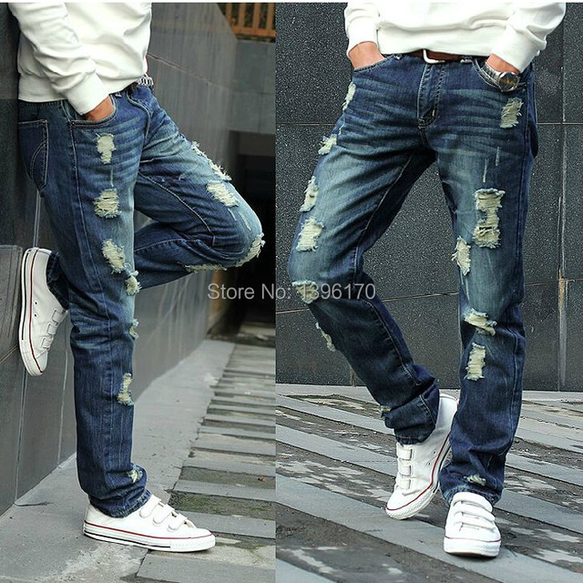 4efeaa0f16dca 2015 Autumn high quality Torn Hole washed slightly tapered ripped jeans men  loose large size jeans for male jean plus size 28-42