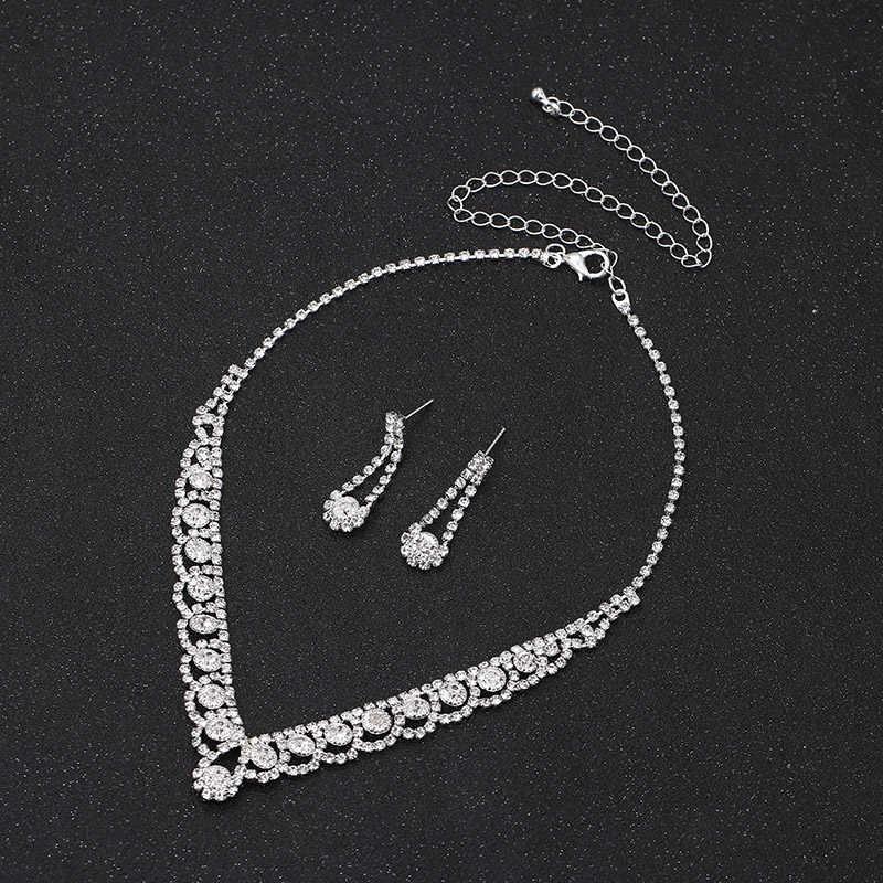 TREAZY فضي اللون حجر الراين كريستال مجوهرات الزفاف مجموعات للنساء قلادة أقراط سوار مجموعة مجوهرات الزفاف اكسسوارات