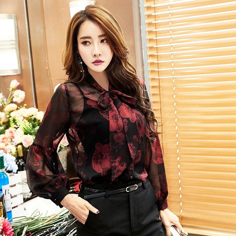 QA978 haute qualité mode lanterne manches imprimé noir en mousseline de soie blouse femmes élégant floral chemise femme hauts
