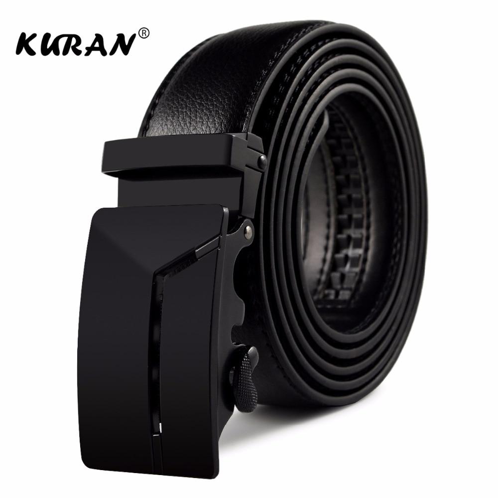 [KURAN] New Brand designer mens belts luxury real leather belts for men metal buckle man Jeans pants genuine leather belt male s