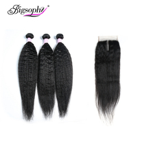 Bigsophy Human Hair Brazilian Kinky Straight Wave Human Hair 3Bundles With Lace Closure Middle/Free/Three Part Remy Hair