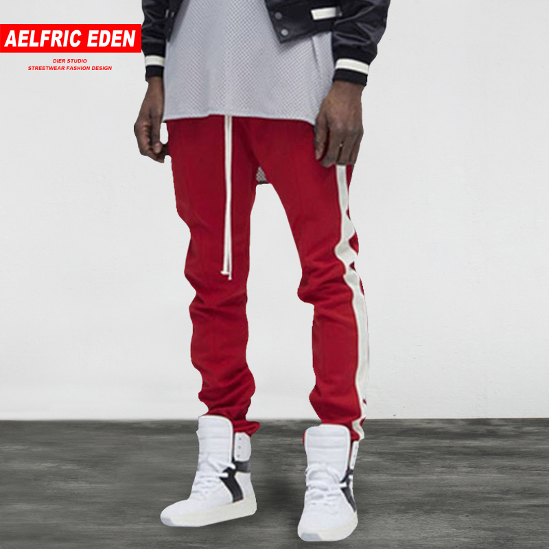 Aelfric Eden Bieber Lengthened Section Sweatpants Men Occident Retro Hip Hop Trousers Side Zipper Hit Color Unisex Casual Pant Easy To Repair