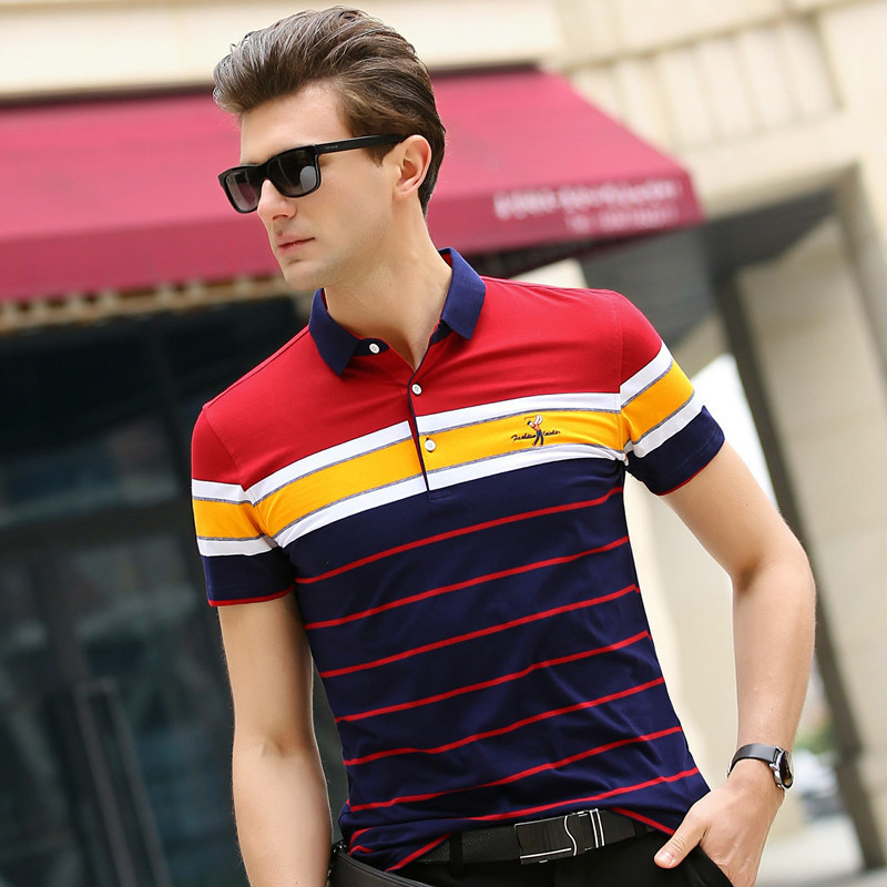 New Print Summer Plaid   Polo   Shirt Cotton   Polo   Short Shirts Mens Europe Fashion Casual   Polo   Homme Men's   Polo   Shirt Size