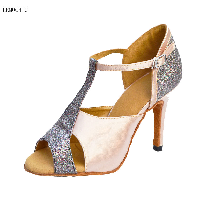LEMOCHIC hot sale suitable for summer newest tango rumba cha-cha jazz salsa comfortable high heel performance women dance shoes