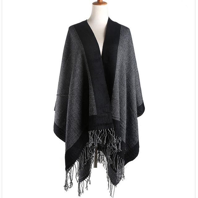 Inverno Borla Das Mulheres Lenços Moda Cobertor de Cashmere Poncho Infinito Cachecol Mulheres Lenços Lenços de Algodão 2016 Quente Manto