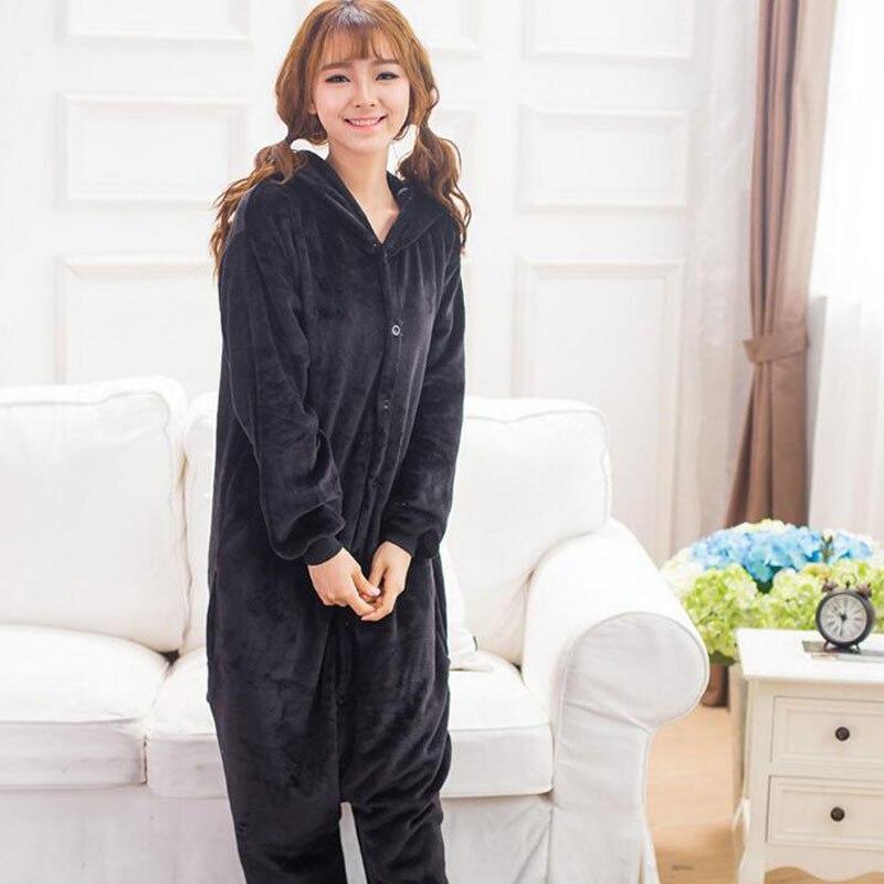 Image 2 - Kumamone Pajama Adult Cosplay Costume Women Men Onesie Winter Warm Sleepwear Flannel Suit Bear Role Play Girls Kigurumi